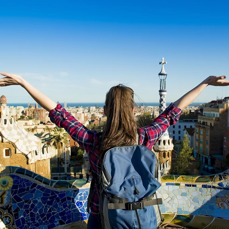 A student enjoys a scenic view of Barcelona, Spain.