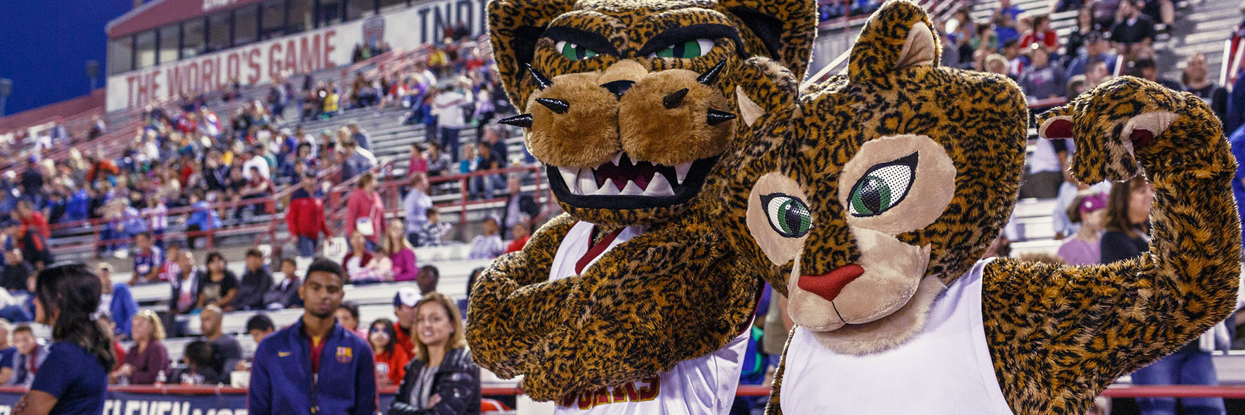 Jawz and Jinx, IUPUI's mascots, at an athletic event