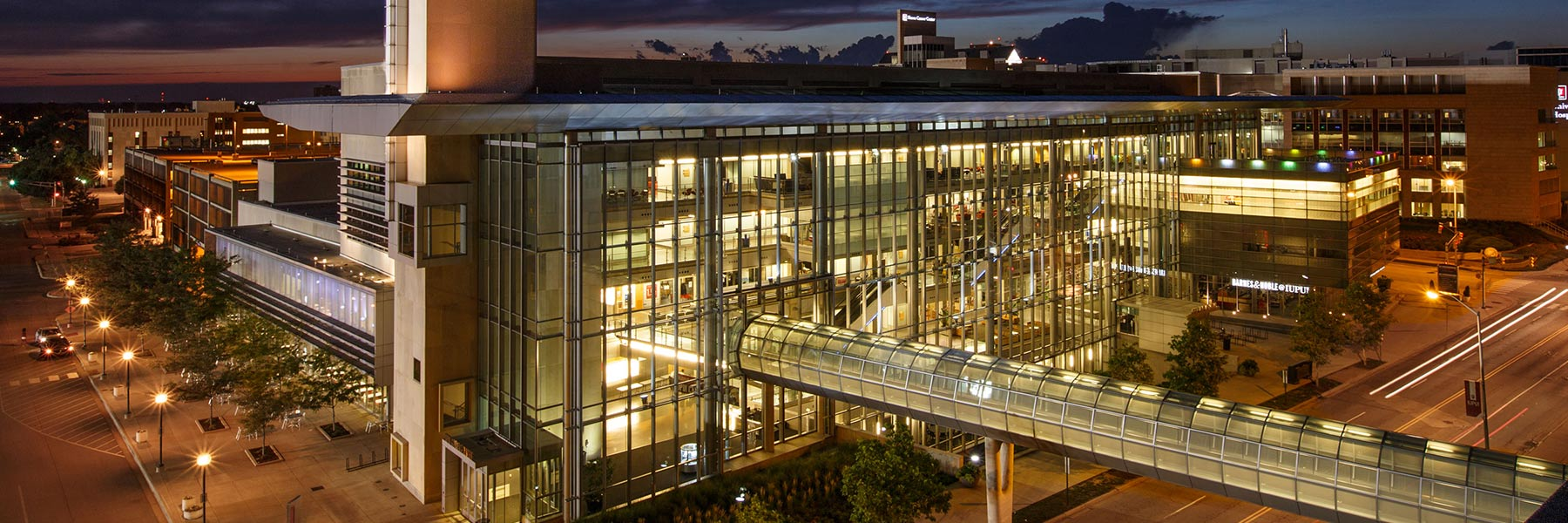 An aerial view of the IUPUI Campus Center at night