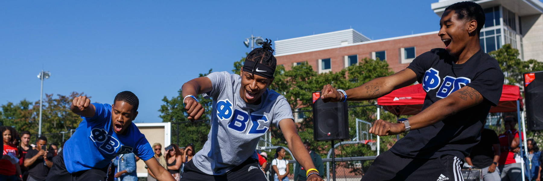 Members of the Phi Beta Sigma Fraternity participate in a welcome back event outside North Hall hosted by IUPUI's Black Student Union