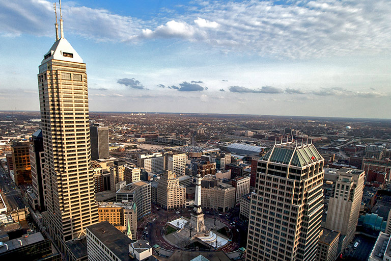 An aerial view of the Downtown Indianapolis above the circle.