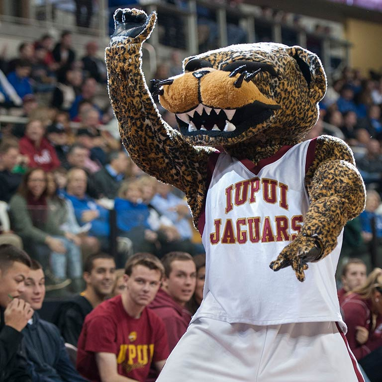 Jawz, IUPUI's mascot, at an athletic event