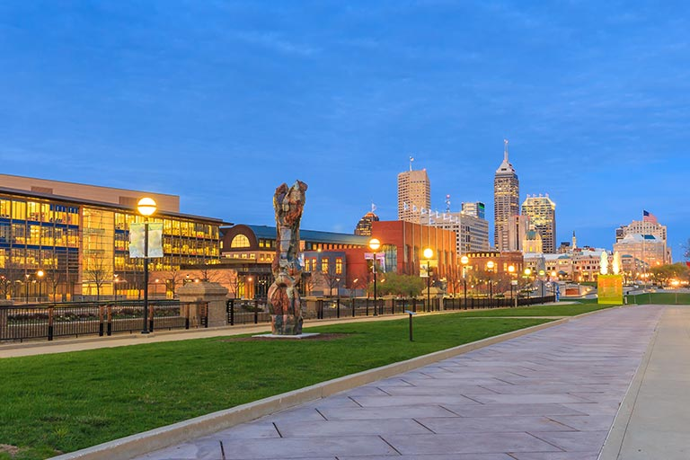 Downtown Indianapolis at twilight