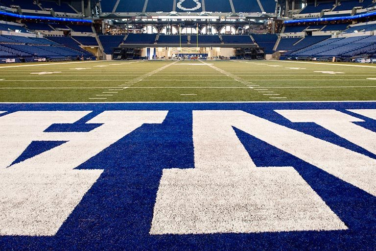 A view of the football field at Lucas Oil Stadium, home of the NFL's Indianapolis Colts