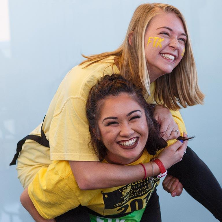 Two students at Jagathon, IUPUI's Dance Marathon