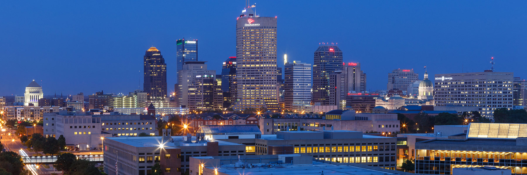 An aerial view of the Indianapolis skyline at night