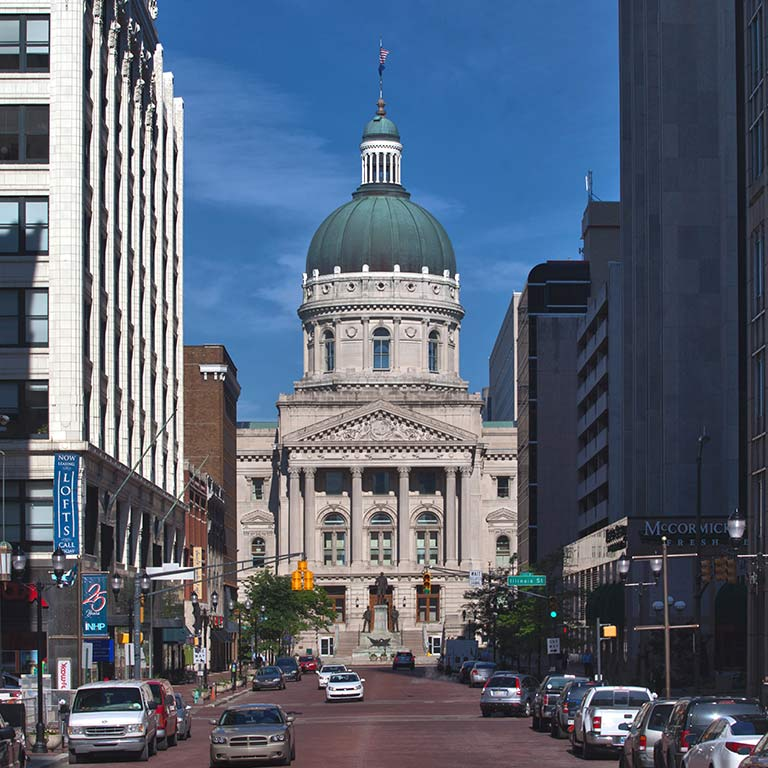 The Indiana state capitol building in downtown Indianapolis