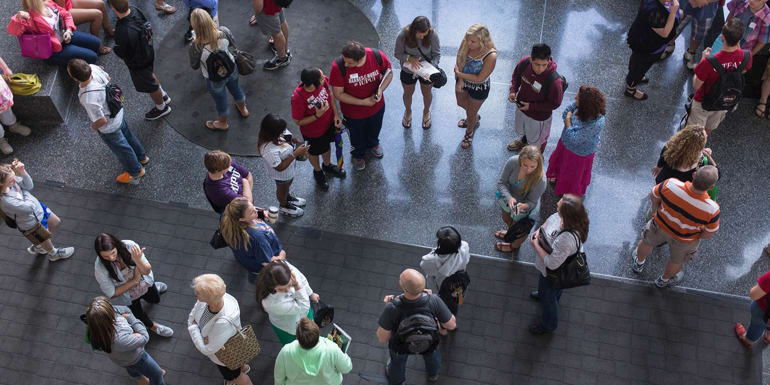 Prospective students and their families gather at an event in the IUPUI Campus Center.