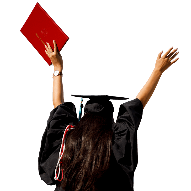 graduate student with her hands in the air